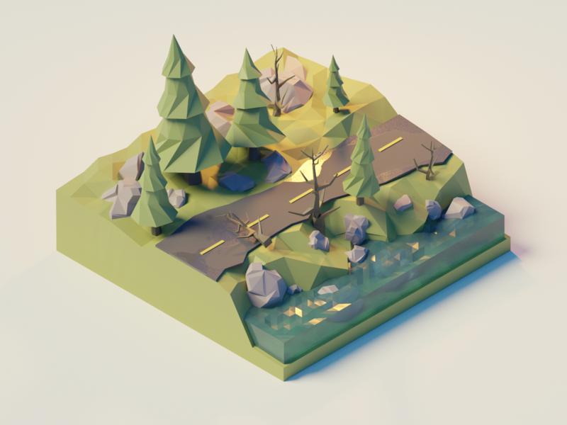 Polygon Runway Tutorial green pine grow water tree road isometric landscape 3d blender illustration