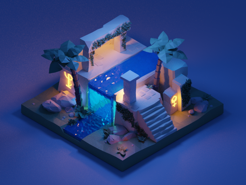 Polygon Runway Ruins Tutorial blender 3d landscape waterfall water steps stone palm tree palm glyph light building ruin isometric illustration
