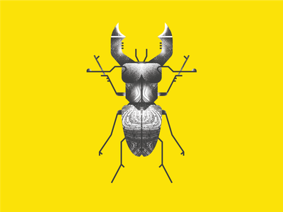 Stag Beetle line spray grit texture white black yellow bug insect stag beetle design vector illustration