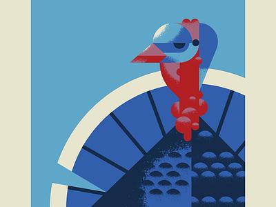 Happy Thanksgiving Y'all turkey day thanksgiving day animal gobbler fowl thanksgiving turkey blue character bird texture design vector illustration