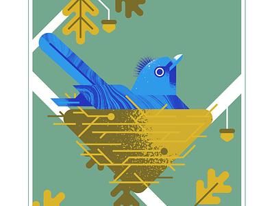black-naped monarch oak acron geometric blue bird texture design vector illustration