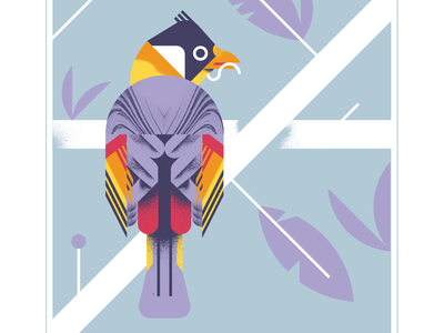 Silver Eared Mesia nature plant leaf orange pink animal geometric fly bird character texture design vector illustration