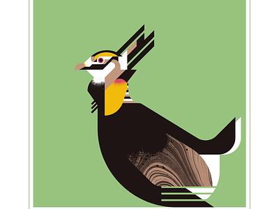 Prairie Chicken flight prairie chickens chicken animal fly geometric character bird texture design vector illustration