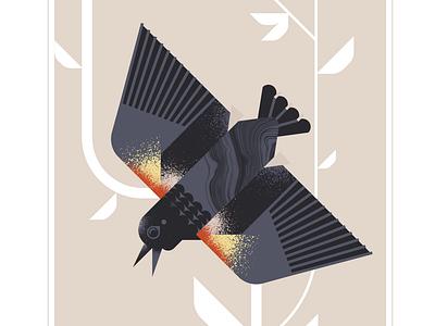 Red Winged Blackbird animal grain flight black blackbird geometric character bird texture design vector illustration