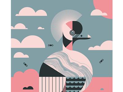 Crowned Crane geometric vector texture landscape animal eye beak feather flight fly crane bird illustration