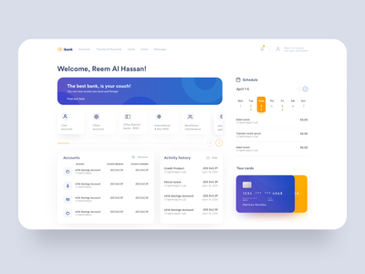 Finance dashboard credit wallet bank card manage money dashboad desktop ui ux finance bank