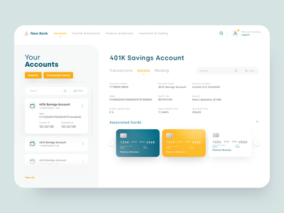 Bank Account -  details banking desktop credit ui ux money manage wallet fintech finance bank