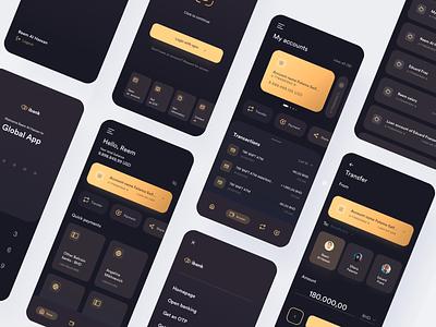 Mobile bank - Dark mode bank card banking manage wallet finance mobile app bank dark theme dark mode