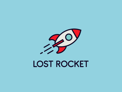 LOST ROCKET Logo Design flat vector logo graphic design designer design branding