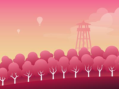 Mandloňové sady - ilustrace illustration art flat vector graphic design designer design