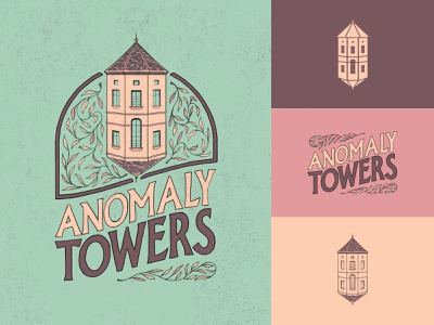 Anomaly Towers Brand Identity illustration hand drawn brand identity brand design brand foliage ivy old building building architecture badge logo badge design badge logotype logo design logo
