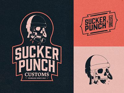 Sucker Punch Customs - Brand Identity helmet bikes motorcycle hand drawn vintage logo retro vintage skull logo skull badge design badge logo badge logo design logo brand design branding