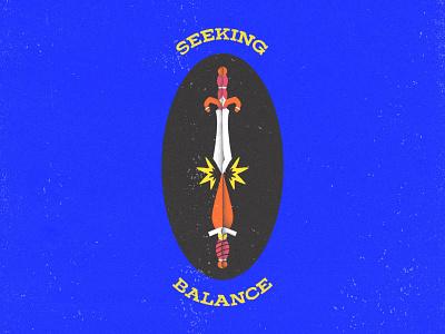 Seeking Balance shading grain texture grain flat balance dagger sword swords typogaphy badge design hand drawn illustration