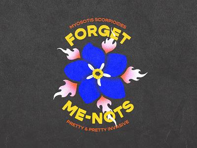 Forget-Me-Nots grain texture distressed retro typography fire flames flower logo design foliage branding illustration badge design hand drawn