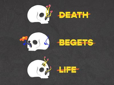 Death Begets Life mushrooms skulls skull retro grain branding badge typography logo illustration badge design hand drawn