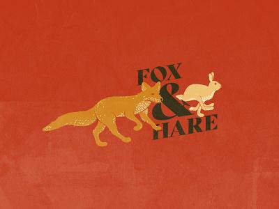 Fox & Hare serif font fox logo animal hare fox logo badge branding logo design typography illustration badge design hand drawn