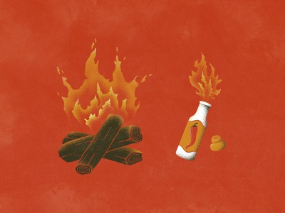 Keepin' it Hot drawing peppers wood spicy flames hot sauce vintage design campfire fire distressed vintage grain branding logo illustration hand drawn
