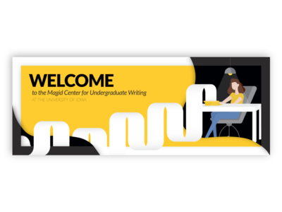 Magid Center Social Welcome Banner university of iowa writers writer typing writing instagram banner facebook cover vector art