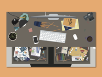 Messy Desk Seek-and-Find Illustration