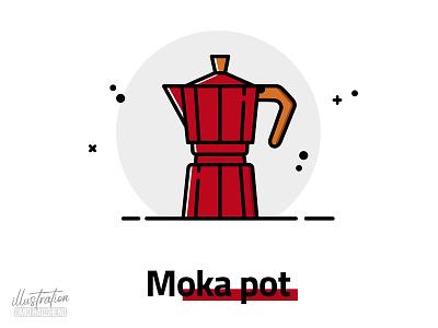 moka pot illustration art illustrator coffee moka pot logo minimal flat vector design dribbble illustration