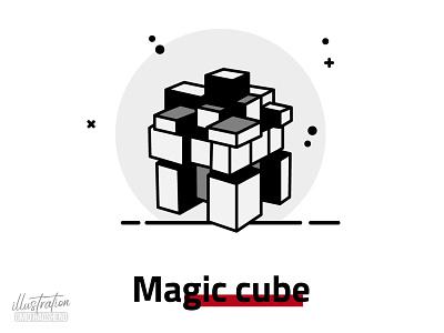 magic cube illustration dribbble flat rubik magic cube vector minimal illustrator art design illustration