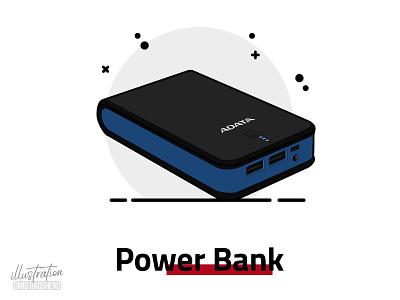 power bank illustration mobile adata vector power bank dribbble minimal illustrator flat art illustration design