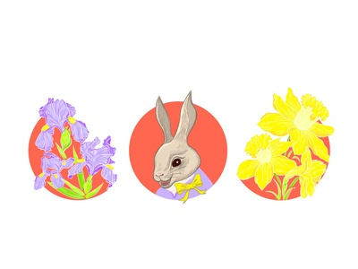 Bunny animal cute holiday iris daffodil easter bunny summer flower design fashion character vector illustration