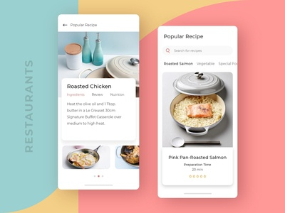 Restaurants App Screen Concept