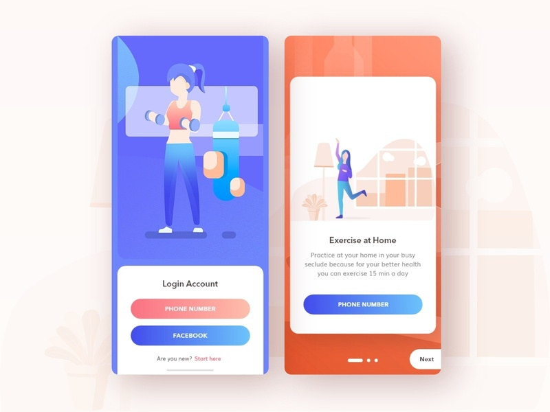Fitness Apps login & On boarding Screen Design ecommerce login design login screen login page login onboarding ui onboarding screen onboarding exercise