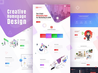 Creative Home Page app vector design illustration ecommerce creative website digital agency agency website