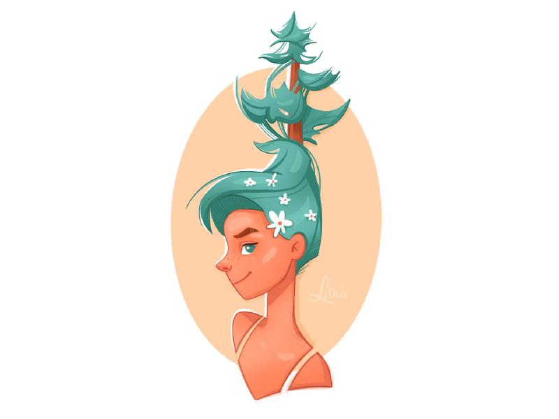 Forest girl forest drawing litnie art procreate nature character illustration dtiys иллюстрация