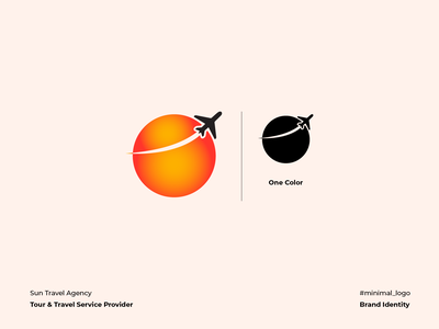 Sun Travel Agency Logo corporate identity graphic design logo design minimal illustration vector iconography sunset plane journey trip tour travel sun