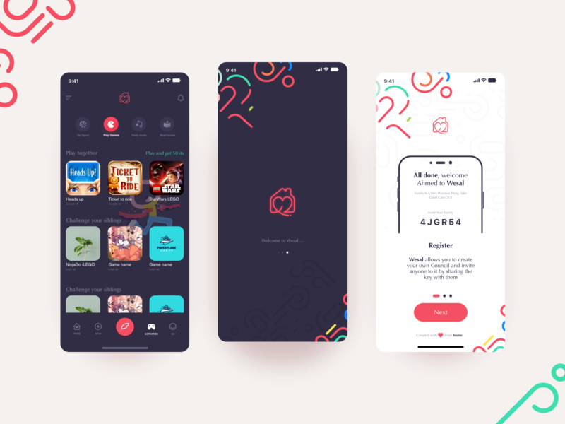 Family and Friends , Mobile app social network socialmedia ios fun gaming red ux  ui uidesign family