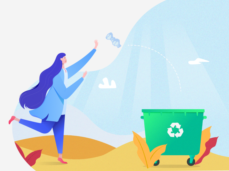 Recycling webdesign vector blue flat illustration flat design illustraion