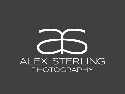 Alex Sterling logo black and white letters simple photography typography lettering logo