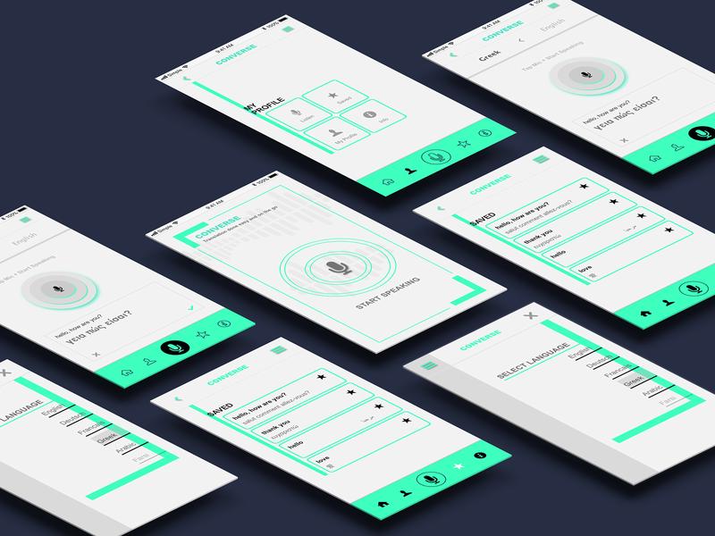 Converse translation app ux art direction branding design app designer ui digital design app design