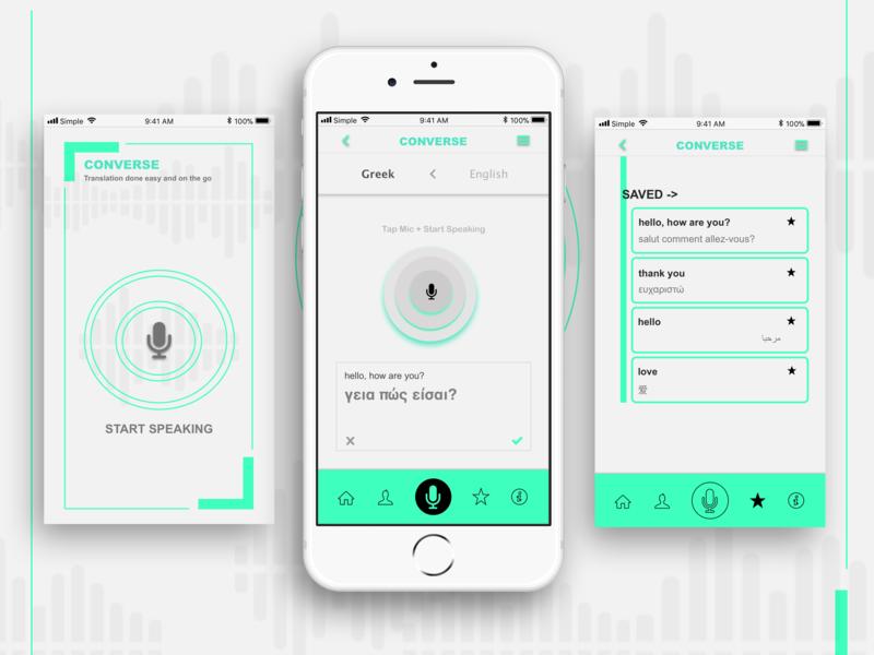 Translation App wireframe digital design ui design app design