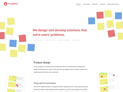 thoughtbot services hero post-its thoughtbot marketing page landing page