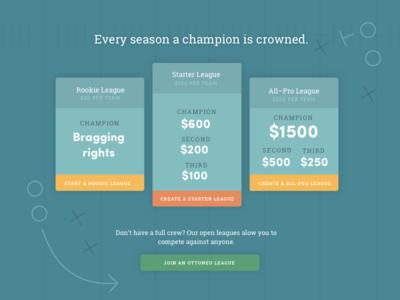 Ottoneu Pricing table football pricing