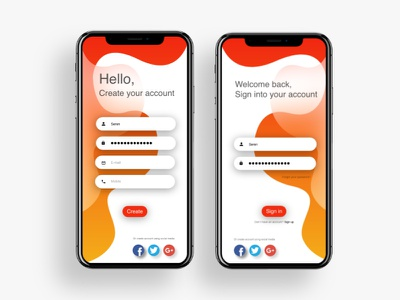 Sign-up / Login Screen - Challenge #1 dailyui 001 daily 100 illustration vector ios clean graphic design interface design app ux ui