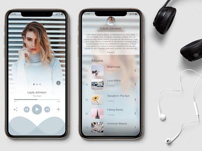 Music Player App Screens - Challenge #9 minimal branding design ios app flat interface design vector graphic design dailyui daily 100 ux ui digital clean