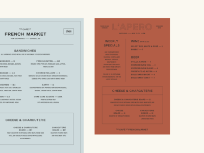 French Market Menus