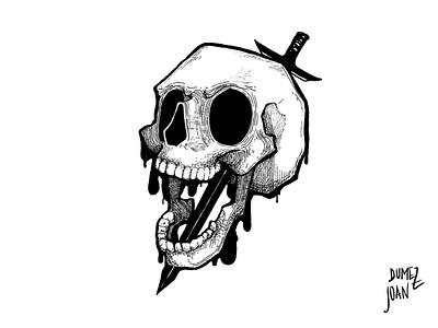 Inktober Injured skulllogo skull injured sword doodle pen inking inktober2019 inktober bw joandumez illustration