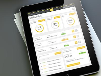 Hosting Admin Panel Interface - iPad App webhosting app ios ipad dashboard ui ux mac apple interface yellow white hosting stast stats