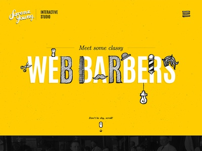 Web Barbers lipiarz barbershop webdesign singlepage responsive drawings yellow sketches lorenzyoung