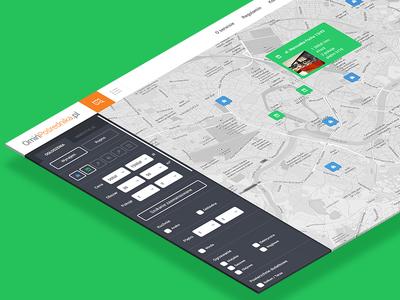 Flat design flat finder lipiarz flat webdesign layout search developer house green orange