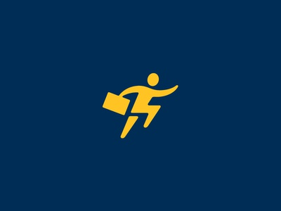 Fast as Lightning lipiarz logo symbol man run lightning speed fast blue yellow