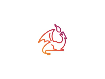 Dragon Valley minimal yellow red gradient line flame dragon logo branding lipiarz