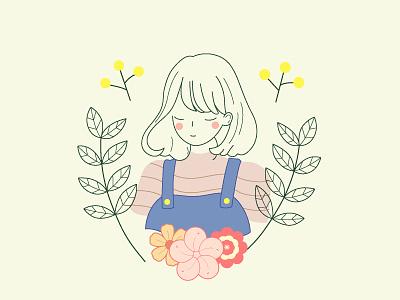happy bobbed hair girl design 2d illustration flat