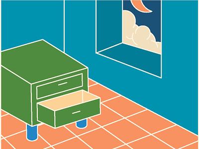 open drawer retro room vitage 2d illustration flat